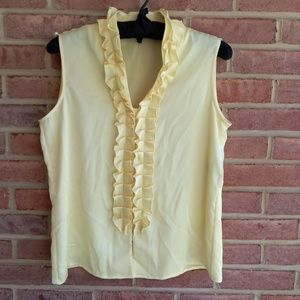 Anne Klein Suit Yellow Sleeveless Ruffle Blouse